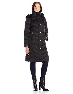 Kenneth Cole Womens Long Maxi Down Coat with Faux Fur Hood Black Large >>> You can get more details by clicking on the image.
