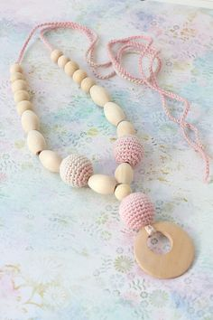 Pink Crochet necklace Wooden pendant Nursing by ForeverValues, $12.00