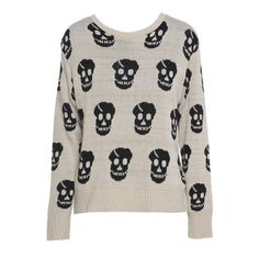 AX Paris Skull Knit Jumper ($11) ❤ liked on Polyvore featuring tops, sweaters, shirts, blusas, biege, shirt tops, knit sweater, knit shirt, shirt sweater and knit jumper sweater