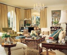 """The furniture placement in the living room makes the space suitable for large functions but encourages intimate conversations. """"For our lifestyle, the house needed to be multipurpose ,"""" says Rob Lowe."""