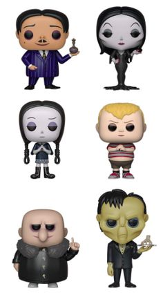 The Addams Family - Set of 6 POP! MOVIES - THE ADDAMS FAMILY Bring a spooktacular touch to your collection with the first family of Halloween including Pop! Gomez, Morticia, Wednesday, Pugsley, Uncle Fester and Lurch with Thing. Funko Pop Dolls, Funko Pop Figures, Vinyl Figures, Die Addams Family, Adams Family, Funk Pop, Disney Pop, Pop Toys, Art Drawings For Kids