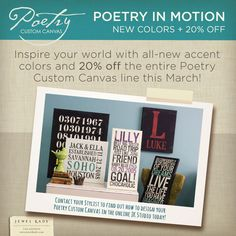 This March - all Custom Canvas is 20% off.  Create your very own work of art today @ https://shelley.jewelkade.com