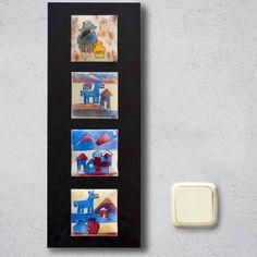Cuadro serie de cuatro DIBUJOS ANDINOS. Inspirado en dibujos andinos. Consta de cuatro placas de cobre esmaltadas al fuego, realizadas sobre un fondo de esmalte opaco blanco y posterior aplicación de esmaltes transparentes realizando varias cocciones, según el punto de fusión de cada esmalte. Las placas están montadas sobre una base de DM, teñida con tintes al agua. Disponible tanto en posición horizontal, como vertical. La tonalidad puede variar ligeramente. Para montajes con dos o una ...