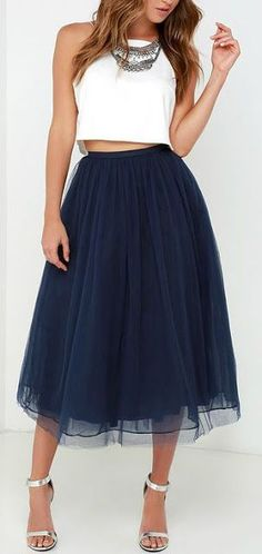 Cool Semi Formal Dresses Women's fashion | White crop top, statement necklace and marine tulle skirt...