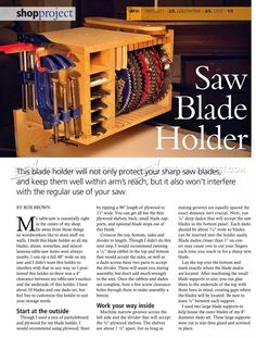 Saw Blade Holder Plans - Table Saw