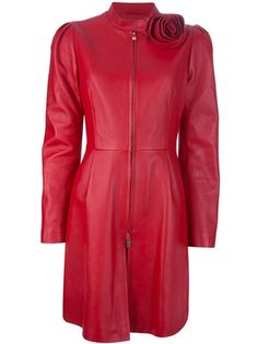 Red leather coat from Valentino