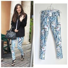 """rag & bone Colored Printed Jean/Legging NWT This aquatic edition of the Rag & Bone Legging skinny jean--as seen on Victoria Justice--sports a colorful abstract wave pattern. Make a statement in these fabulous eye-catching jeans. NWT.   * The Legging cut; Surf Knit color (blue/multicolor abstract wave/snake pattern) * Mid-rise * 96% Cotton; 4% Roica® spandex * Machine wash cold * Retail $187.00+tax   Approximate Measurements: * Waist: 14"""" (flat across) * Front rise: 8.25"""" * Back rise: 13""""…"""