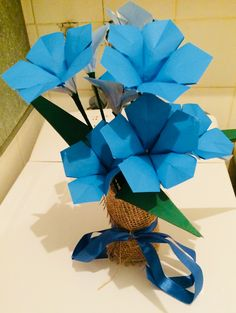 Paper bouquet, blue petunia