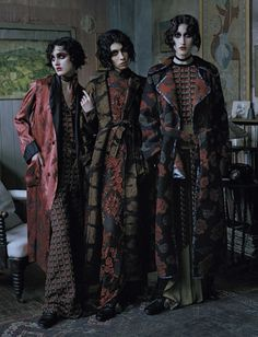 'Rebel Riders', Vogue Italia December 2015.  Photographer: Tim Walker Featuring models Anna Cleveland, Christina Carey, Erin O'Connor and Jamie Bochert. Styled by Jacob K; Makeup by Val Garland; hair by Julien D'ys