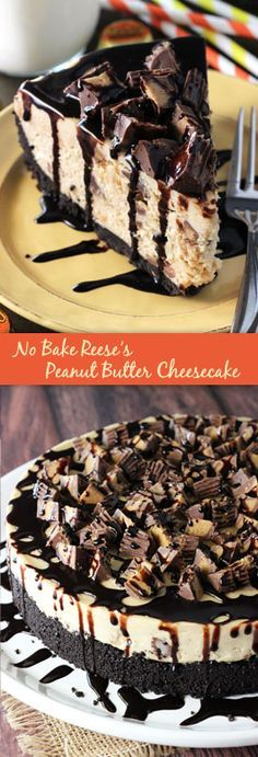 No Bake Reese's Peanut Butter Cheesecake! Full of chopped Reese's and peanut butter!