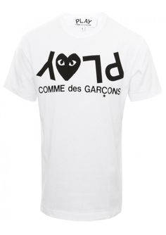 PLAY Mens Letters T-Shirt White | Comme des Garcons Play | Hervia.com #play #commedesgarcons #t-shirt #hervia