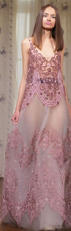 DANY ATRACHE FW 2014 couture - mauve pink gown with beading and embroidery, runway model Style Haute Couture, Couture Fashion, Runway Fashion, Fashion Show, Fashion Design, Beautiful Gowns, Beautiful Outfits, Traje Black Tie, Mode Rose