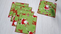 Christmas Cloth Napkins Santa Reindeer Gifts Cocktail Beverage Set of 5 Christmas Wine Bottles, Christmas Cocktails, Christmas Tablescapes, Beverage Napkins, Cocktail Napkins, Cocktail Drinks, Christmas Cloth Napkins, Bottle Bag, Santa And Reindeer
