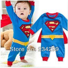 赤ちゃんの冬のロンパー2013スーパーマンロングスリーブクリスマスの服新生児セットのベビードレススモック幼児ロンパーハロウィン衣装