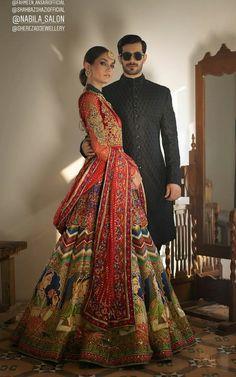 How beautiful is this mughal inspired Nomi Ansari Bridal lengha? Desi Wedding Dresses, Pakistani Bridal Dresses, Indian Wedding Outfits, Bridal Outfits, Indian Dresses, Indian Outfits, Indian Weddings, Wedding Attire, Indian Bridal Fashion