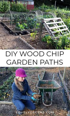 Permanent garden paths reduce weeding and mowing time -- they can also be easy, quick, and inexpensive to make. Heres instructions on how to make wood chip garden paths and why theyre such a great option #lovelygreens #vegetablegarden #diygarden
