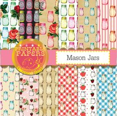 Mason jar digital paper, jam jars, kitchen, shabby cottage, ball jar backgrounds x 12 by GemmedSnail on Etsy