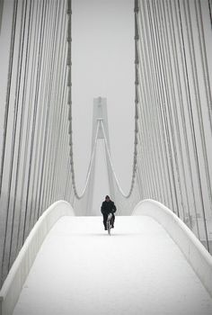 Snowbiker at the Pedestrian bridge in Osijek, Croatia