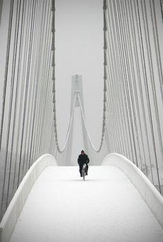 Snowbiker at the Pedestrian bridge in Osijek, Croatia