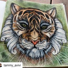 by @tammy_avivi ・・・ Coloring outside the lines  #africantiger #tiger #johannabasford #magicaljungle #tammycoloring ‼️#coloringbook #polychromos #fabercastell #coloring