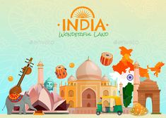 Buy India Travel Poster by macrovector on GraphicRiver. Colorful travel poster with taj mahal lotus temple rickshaw and other symbols of wonderful land india cartoon vector . Tourism Poster, Travel Posters, Incredible India Posters, Amazing Photos, Amazing Facts, Estilo Mehndi, Festival Holi, Festivals, Taj Mahal