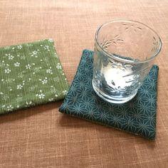Reversible Candle Holders/Sakura and Hemp Leaf Fabric Coasters/Cherry Blossom/Japanese Kimono Fabric/ Green/2pcs set