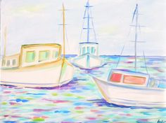 Fishing Boats, Watercolors, My Etsy Shop, Paintings, Group, Unique Jewelry, Handmade Gifts, The Originals, Prints