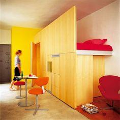 small studio apartment with a semi-hidden sleeping loft.