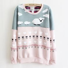 [Magic] newest style high quality fleece inside warm hoodies women sheep mix color cotton hoodie pink and gray free 8425 $14.99