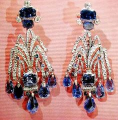THE ROMANOVS JEWELS ~ the earrings 'THE CASCADE', of the 18th century, belong to Elizabeth I, diamonds, sapphires