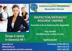 Curs de formare profesionala INSPECTOR RESURSE UMANE 15% reducere pentru plata integrala la inscriere !  www.idru.ro #cursuri #calificare #romania #2017