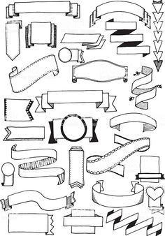 drawn vector doodle banners, quirky and fun banner clip art. Hand drawn vector doodle banners, quirky and fun banner clip art.Hand drawn vector doodle banners, quirky and fun banner clip art. Bullet Journal Banner, Bullet Journal Ideas Pages, Bullet Journal Inspiration, Bullet Journals, Banner Clip Art, Banner Vector, Sketch Notes, Doodle Art, Doodle Frames