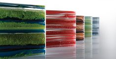 Ribbon glass--made from approximately recycled glass - Stone Source Slumped Glass, Fused Glass Art, Stained Glass, Kitchen Dinning Room, Kiln Formed Glass, Work Inspiration, Material Design, Recycled Glass, Retail Design
