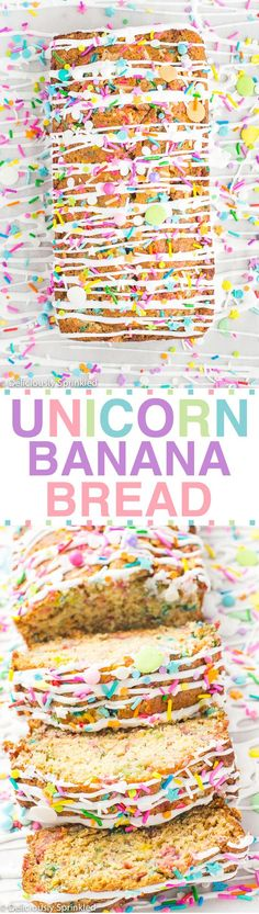 UNICORN BANANA BREAD This simple to make banana bread filled with SPRINKLES makes for a FUN way to start your day! I'm SO excited to share this super fun Unicorn Banana Bread with all of you today! If you follow me on Instagram, yesterday I posted a little behind the scenes of me making this bread. Unicorn everything …