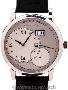 """A. Lange & Söhne Grand Lange 1 ref 115.026 Platinum Box & Booklets - <span id=""""watchNotes"""">A. Lange & Sohne Grand Lange 1 ref 115.026 circa 2002 complete with original inner and outer box and instructional and warranty booklets. Featuring a robust 41.9mm diameter platinum case with sapphire crystal display back. Featuring an offset matte silver primary dial with applied Roman numerals and hour indexes, oversize and offset overlapping sub-seconds dial at 5 o'clock, power reserve indicator at  Quick Date, Modern Watches, Roman Numerals, Oclock, Crocodile, White Gold, Crystals, Vintage, Clock Art"""