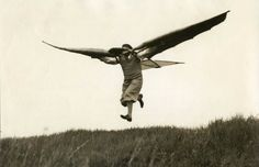 """""""wing people; the fly apparatus of Ellyson, a mechanic from Munich, in air. Germany, 1932"""""""