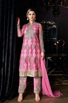 Pink Net Designer Suit