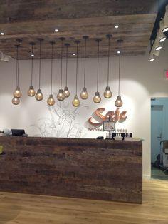 Reception desk, lights, ceiling