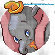 Dumbo Hama mini and midi perler pattern - MeGustaHAMABEADS.com