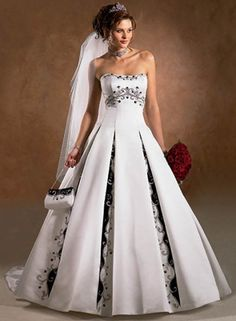 Some of the wedding dresses that incorporate colored trims looks pretty tacky, but I think this one pulls it off well.  I just don't like how sterile the rest of the fabric looks. :