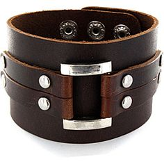 West Coast Jewelry Adjule Brown Wide Leather And Polished Buckle Cuff Bracelet Mens Bracelets