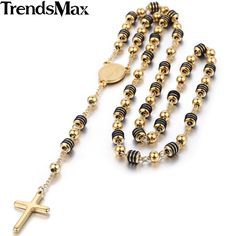 Trendsmax Stainless Steel Bead Chain Jesus Christ Cross Pendant Rosary Necklace Mens Womens Unisex Jewelry KN434-KN441