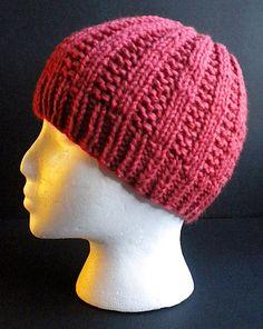 Worsted weight yarn doubled, or bulky weight yarn, makes this a fast hat to work up for gifts or charity.