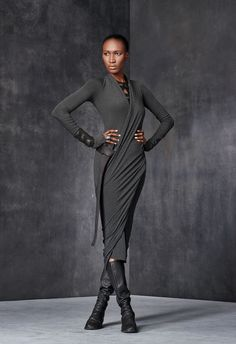 Long-Sleeve V-Neck Draped Dress
