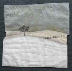 AND SEW IT GOES: Small work. I don't have any quilting skills, but I love the subject matter Small Quilts, Mini Quilts, Textiles, Landscape Art Quilts, Tree Quilt, Quilt Art, Fabric Postcards, Winter Quilts, Miniature Quilts