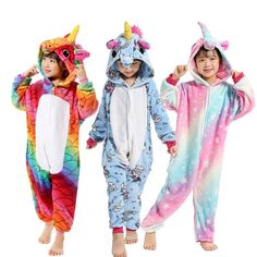 Big Discount Boys Girls New Flannel Animal Pegasus Unicorn Cosplay Pijamas  Onesies Winter Kids Pajamas Stitch Hooded Children Sleepwear e36575ade
