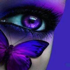 Purple Butterfly on Face of Purple Dreams