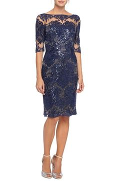 Tahari Embroidered Lace Sheath Dress with Illusion Neckline