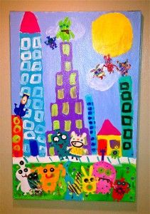 Group Painting from Birthday Party~   Ugly Dolls Attack the City! Hysterical!