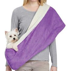 Reversible Sherpa Sling Pet Carrier | For dogs up to 8 lbs | Raspberry or Violet